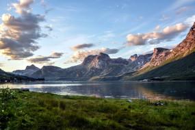 озеро, горы, трава