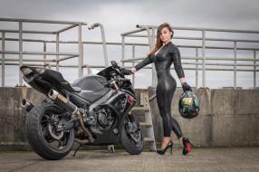 обои для рабочего стола 2048x1365 мотоциклы, мото с девушкой, suzuki