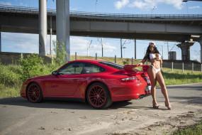 мост, девушка, красная, кепка, брюнетка, купальник, машина