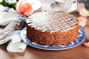 торт, глазурь, шоколад, рисунок