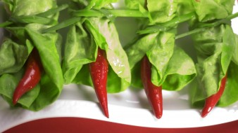 салат, листья, острый, перец