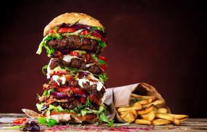 обои для рабочего стола 2560x1633 еда, бутерброды,  гамбургеры,  канапе, гамбургер, картофель