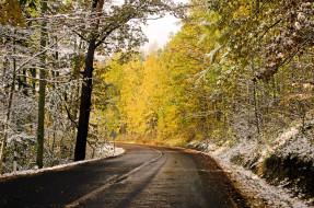снег, шоссе