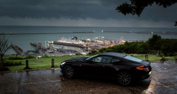порт, nature, автомобиль, db11, побережье, астон мартин, aston martin, rain, outside, 2018, черный