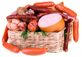 сосиски, колбаски, колбаса, салями, ассорти