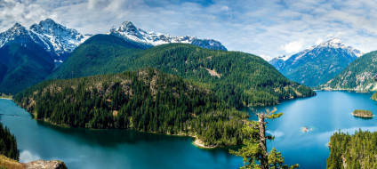 лес, горы, озеро