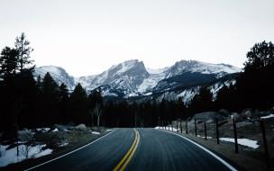 шоссе, горы, зима, снег