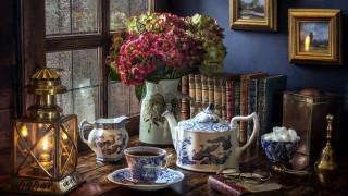 чайник, очки, сахар, фонарь, книги, чай