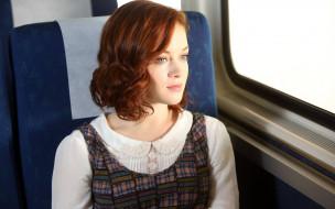 рыжая, окно, Jane Levy, поезд, кресло
