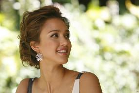 Джессика Альба, актриса, блондинка, улыбка, лицо, серьги
