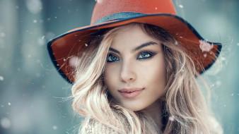 блондинка, снежинки, шляпа, лицо