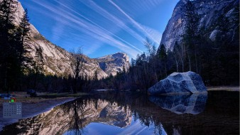 отражение, деревья, гора, водоем, 2018