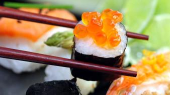 еда, рыба,  морепродукты,  суши,  роллы, икра, кухня, японская