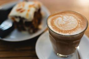 еда, кофе,  кофейные зёрна, капучино