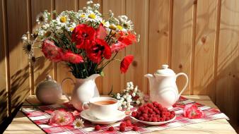 еда, малина, цветы, букет, чай, ягоды
