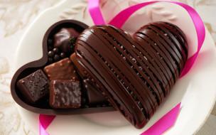 еда, конфеты,  шоколад,  сладости, сердечко, пралине, шоколад, ассорти