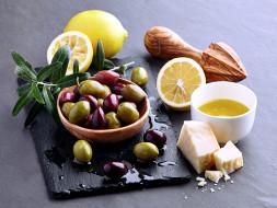 еда, оливки, сыр, лимон