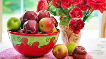 еда, Яблоки, миска, букет, яблоки