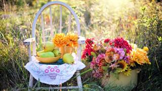 букет, груши, цветы