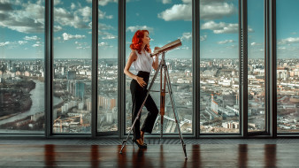 500px, cityscape, andrey metelkov, women, город, панорама, рыжеволосая, телескоп, redhead
