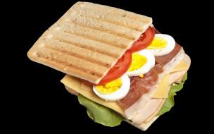 еда, бутерброды,  гамбургеры,  канапе, помидор, яйцо, сэндвич, сыр, ветчина
