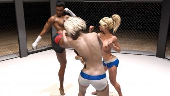 эро-графика, 3d спорт, борьба, ринг, грудь, девушки, взгляд, фон
