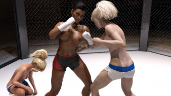 эро-графика, 3d спорт, борьба, девушки, взгляд, фон, грудь, ринг
