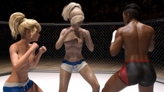 эро-графика, 3d спорт, борьба, ринг, девушки, взгляд, фон, грудь