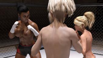 эро-графика, 3d спорт, фон, взгляд, девушки, борьба, грудь, ринг