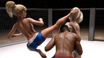 эро-графика, 3d спорт, девушки, борьба, ринг, грудь, фон, взгляд