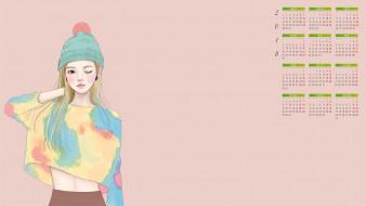 календари, рисованные,  векторная графика, шапка, взгляд, 2018, девушка