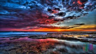 календари, природа, водоем, 2018, облака, закат, камни