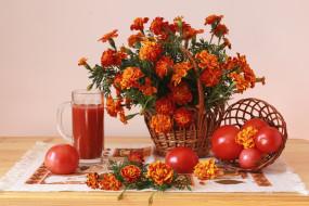 помидоры, бархатцы, сок, букет, тагетес, корзинка