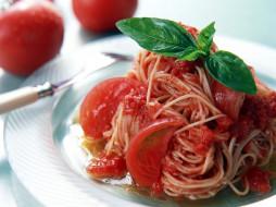 базилик, помидоры, томаты, спагетти
