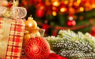 игрушки, ёлка, коробка, подарок, шары