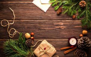 шишки, письмо, ёлки, подарок, свеча, орехи, веревка, стол, конверт