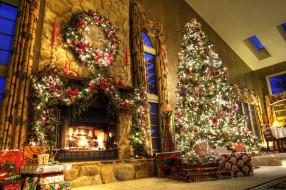 украшения, окна, камин, ёлка, гирлянда, подарки