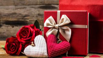 бант, сердечки, подарок, розы