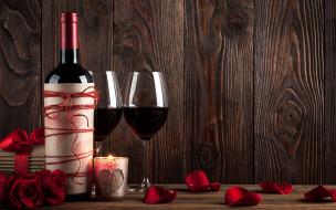 свеча, розы, подарок, вино, лепестки