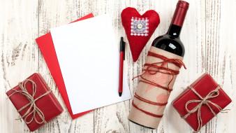 ручка, сердечко, бумага, подарки, вино