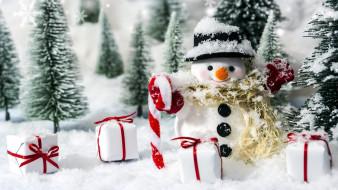 подарки, елки, снеговик, снег