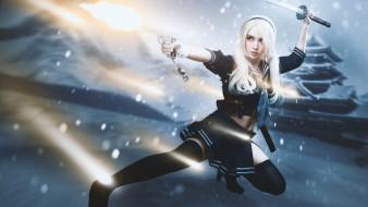 девушка, фон, меч, пистолет