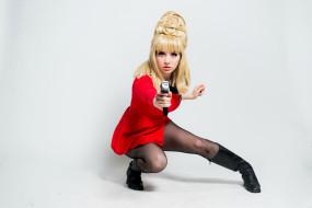 разное, cosplay , косплей, девушка, взгляд, пистолет, фон