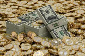 разное, золото,  купюры,  монеты, биткойны, доллары