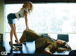 мужчина, стол, блондинка, торт, блузка, каблуки, юбка, Charlotte McKinney