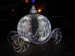 новогодняя карета, разное, иллюминация, город