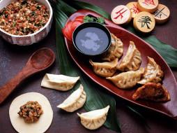 китайская, кухня, пельмени, соус, салат