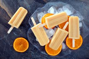 апельсин, мороженое, лед