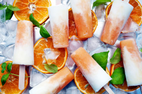 мята, мороженое, апельсин, лед