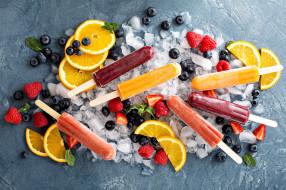 мороженое, ассорти, лед, ягоды, апельсин